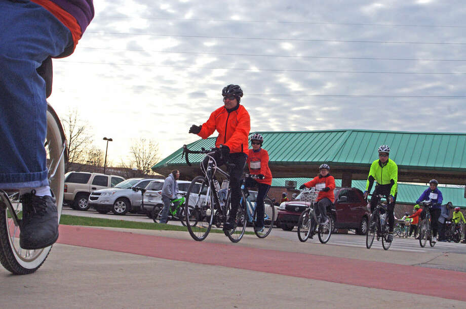 Cyclists leave the Midland's Farmers Market at the start of last year's Howard's Friend Bike Ride.