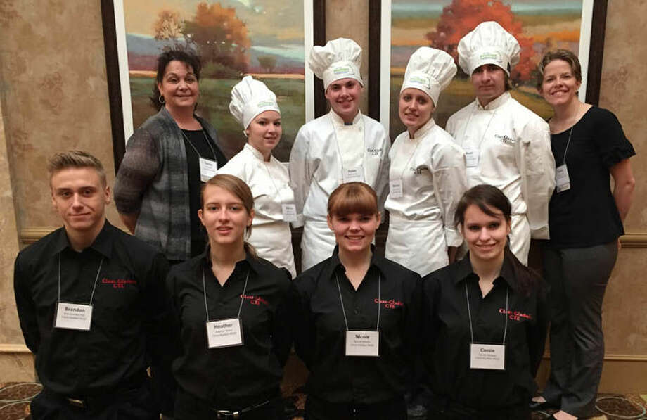 Students from the Clare-Gladwin Career Center's Culinary Arts program recently participated in the 2015 ProStart Competition in Lansing. Pictured are, front row, from left, Brandon Bentley, Heather Baker, Nicole Martin and Cassie Melean; back row, from left, Culinary Arts Paraeducator Renee Zelt, Mehna Orr, Dylan Atwell, Marissa Mathews, Noah Cesal and Culinary Arts Instructor Heidi Rocha. Photo: Photo Provided