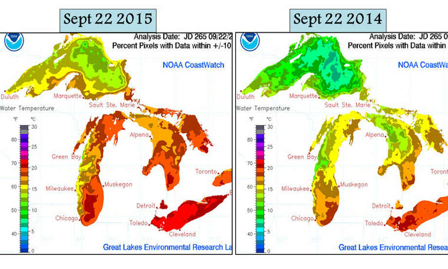 Great Lakes water temperatures continue to be warmer than recent trends and significantly warmer than one year ago. Photo: National Weather Service Gaylord