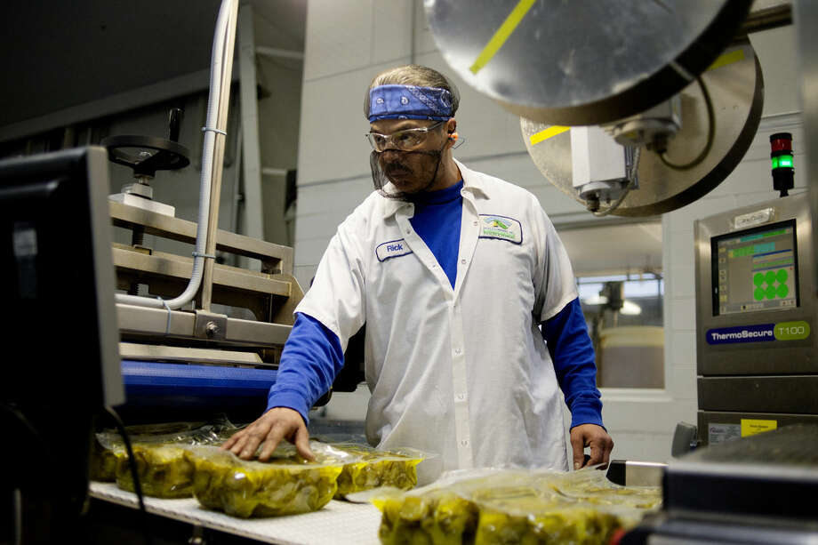 NEIL BLAKE | nblake@mdn.net Rick Ruiz checks pickle packing for leaks as they roll off the line at Hausbeck Pickle Co. in Saginaw on Friday. Hausbeck Pickle was opened in 1923 by Charles E. Hausbeck and the company is still family owned and operated today. Charles' grandsons Tim and Joe serve as president and vice President respectively. Photo: Neil Blake/Midland Daily News