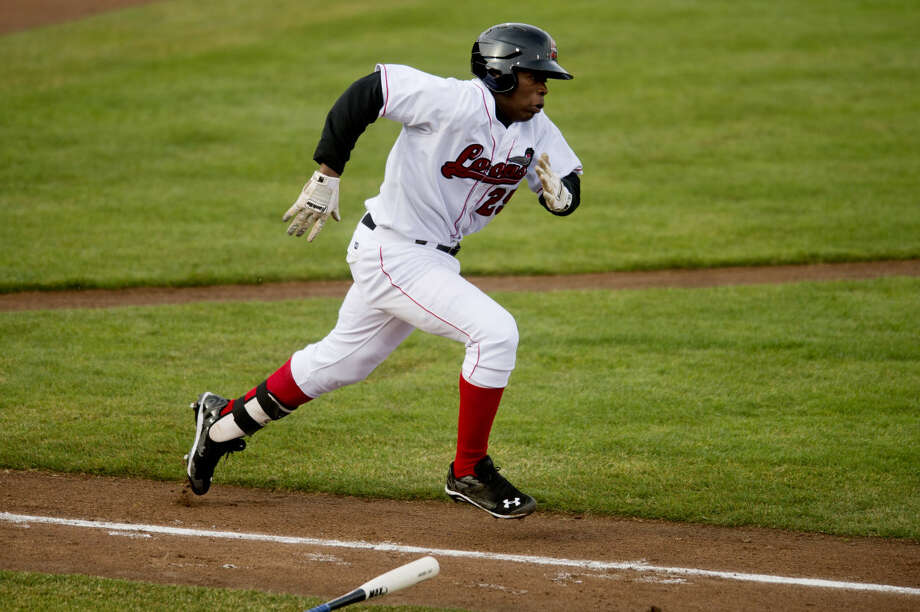Great Lakes Loons' Johan Mieses sprints towards first base during the game against the West Michigan WhiteCaps at Dow Diamond on Tuesday. Photo: Neil Blake/Midland Daily News