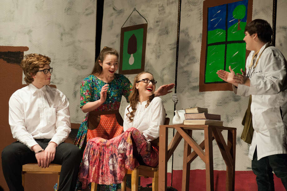 "Leon Tolchinsky (Lucas Adams) meets Lenya Zubritsky (Jaclyn Roeske), Sophia Zubritsky (Nicole Mead) and Dr. Zubritsky (Zach Swinson) in the Bullock Creek High School production of ""Fools."" Photo: Steven Simpkins 