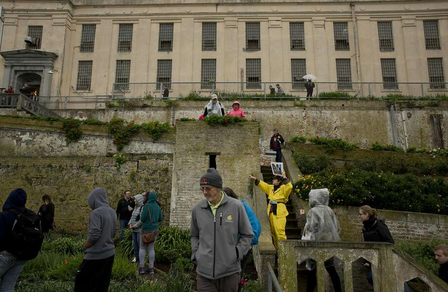 Corny Foster (in yellow), a volunteer with the Alcatraz Historic Gardens, leads a tour through the Officers' Gardens. Photo: Erin Brethauer, The Chronicle