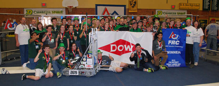 Members of the Dow High Robotics Team 2619, The Charge, at the Great Lakes Bay Region District Competition in March. Photo: Photo Provided