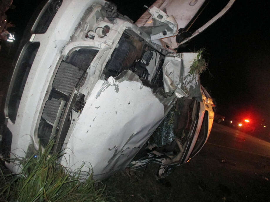 In this photo provided by the Edna Police Department, an SUV that flipped several times remains on the scene following a fatal crash and police chase Thursday in Edna, Texas. Officers tried to stop the SUV for a traffic violation but the vehicle sped away and police gave chase. Photo: Edna Police Department Via AP