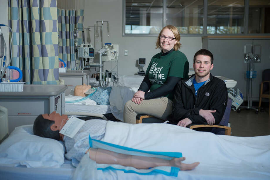 Katheryn Howden, left, and Jarrod Givens are shown in Delta College's nursing facilities. Photo: Photo Provided