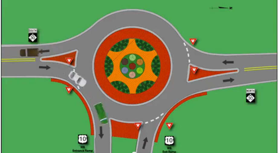 The planned roundabout at the M-30/U.S. 110 intersection. Photo: MDOT