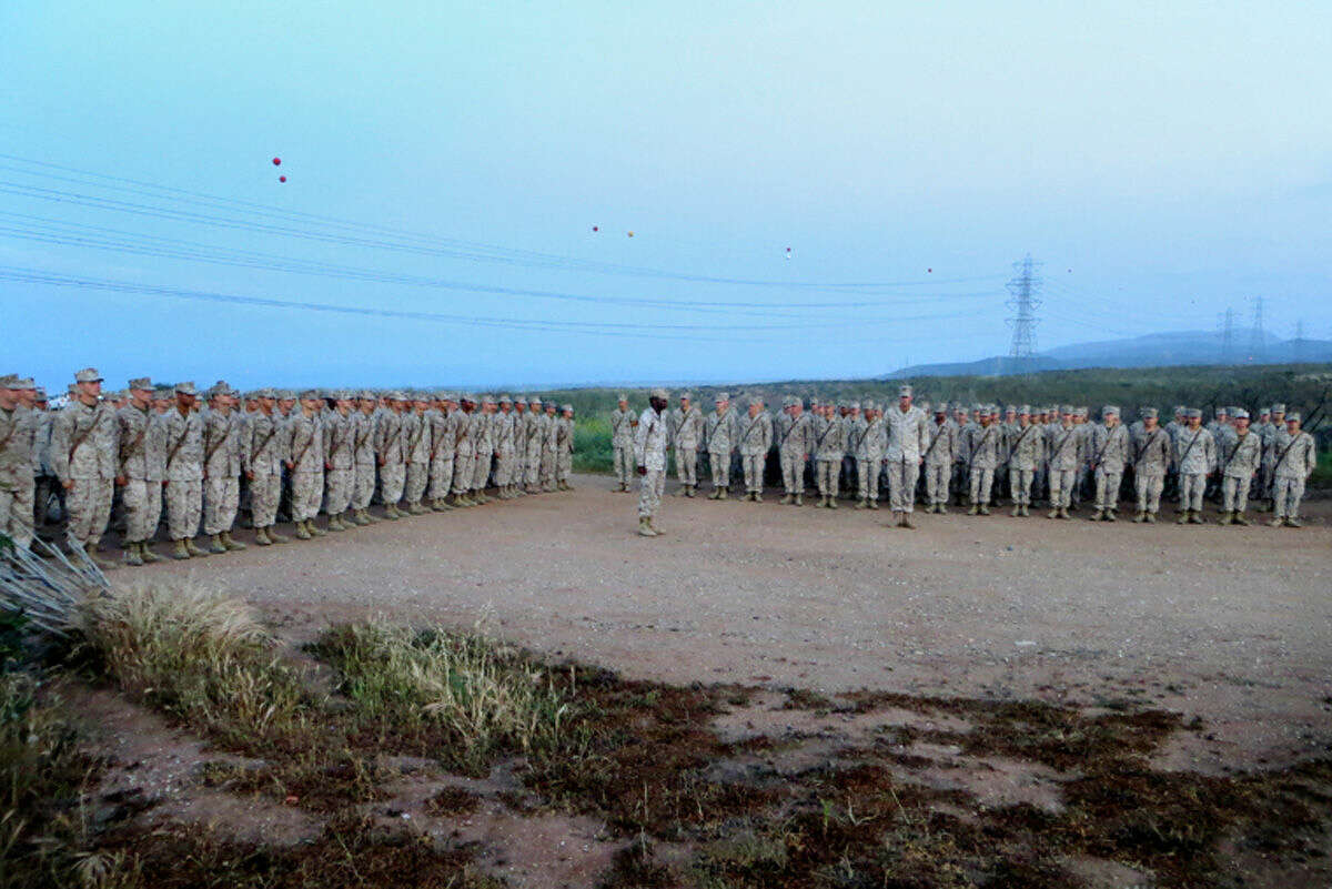 Marine recruits assemble after completion of The Crucible, the final phase of Marine boot camp at Camp Pendleton.