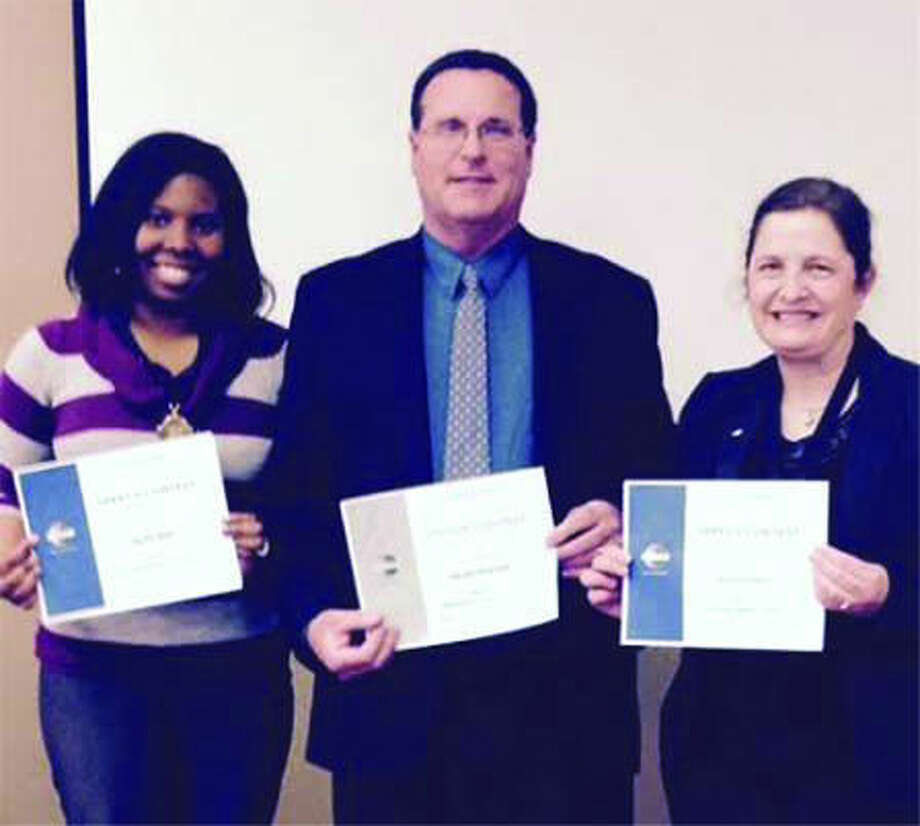 Toastmasters contest winners were Sadie Bell, Jim Gracyzk and Helen Dotson. Photo: Photo Provided