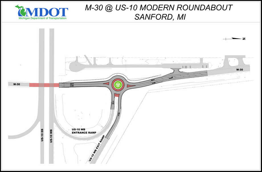 Diagram shows the new roundabout scheduled for M-30 at U.S. 10.