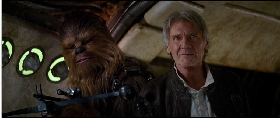"Han Solo (Harrison Ford) and Chewbacca are seen in this still from the new ""Star Wars"" teaser trailer."