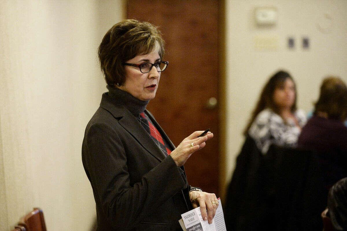 Michigan State Senator Judy Emmons speaks to the Michigan Adult Foster Care Association at Pi's Restaurant in Midland on Wednesday. Emmons talks about legislation regarding human trafficking and how trafficking is happening in Michigan.