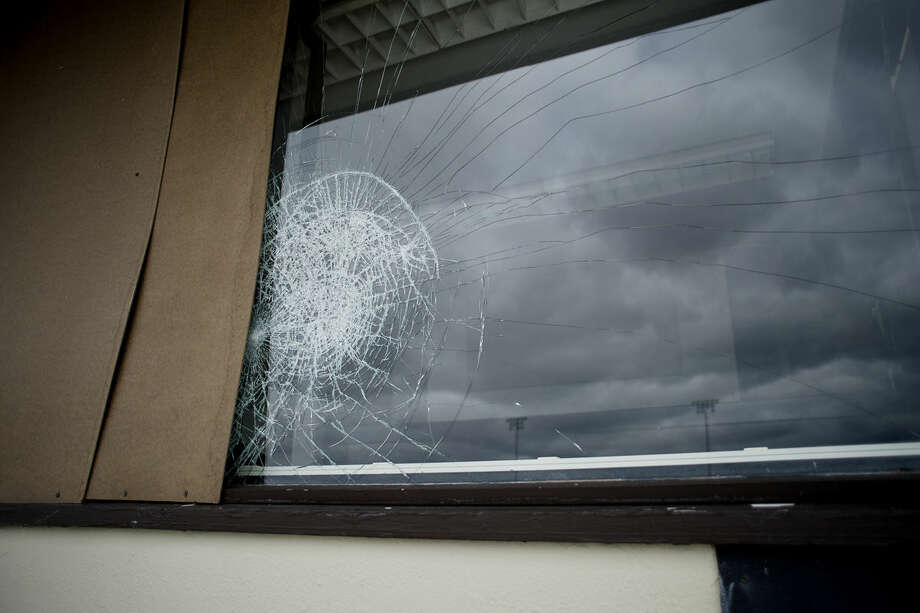 Several press box windows at Midland Community Stadium were smashed within the last week. Staff boarded up several of the windows, which continues to be used for sports activities at the stadium this week. Photo: Neil Blake | Nblake@mdn.net