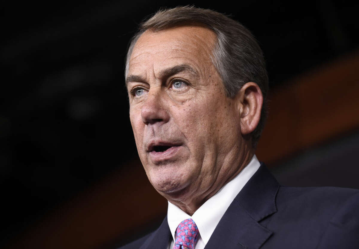 FILE - In this July 29,2015 file photo, House Speaker John Boehner of Ohio speaks during a news conference on Capitol Hill in Washington. According to GOP lawmakers, Boehner to step down end of October. (AP Photo/Susan Walsh, File)