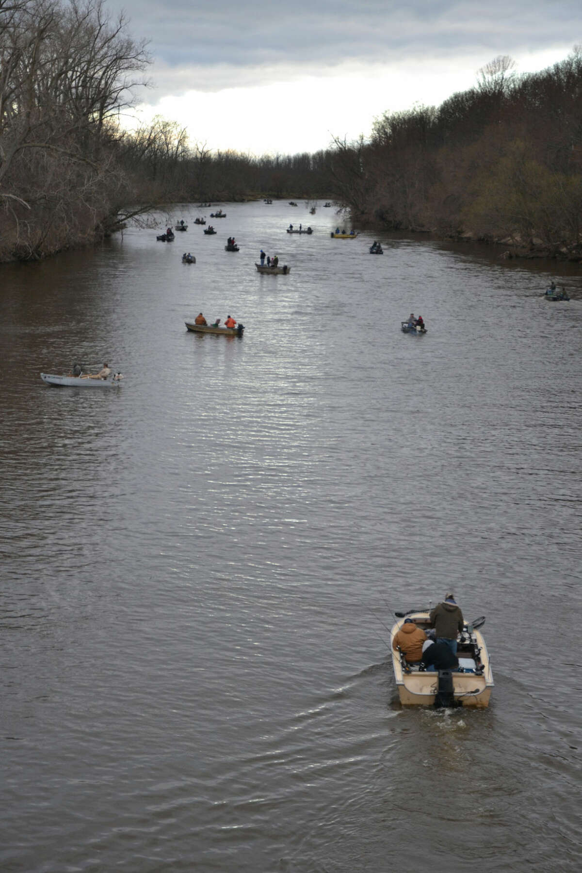 The opening of the walleye fishing season brings crowds of boats to the Tittabawassee and Saginaw rivers; this was the scene on opening day last year on the Tittabawassee at the Caldwell Launch Site on Saginaw Road near Gordonville Road.