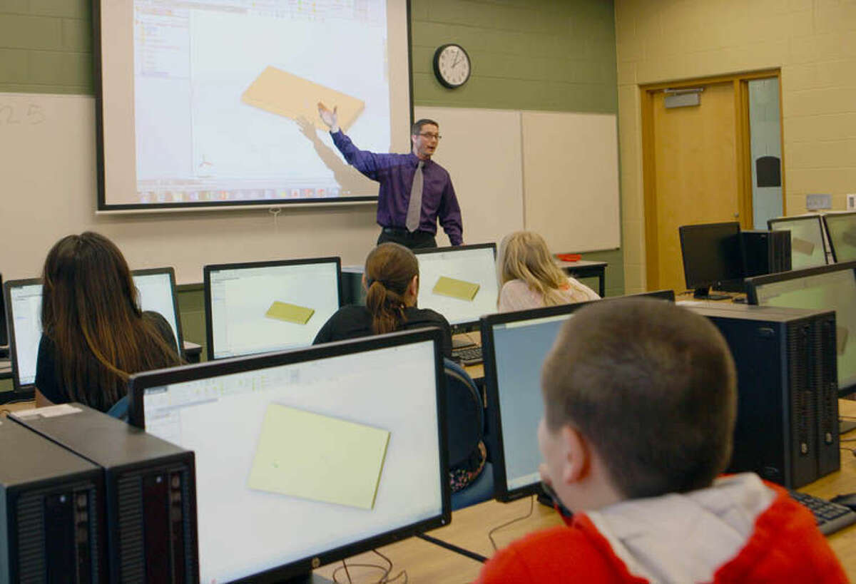Students hear a presentation at the Mid Michigan Community College Morey Technical Education Center in Mount Pleasant.