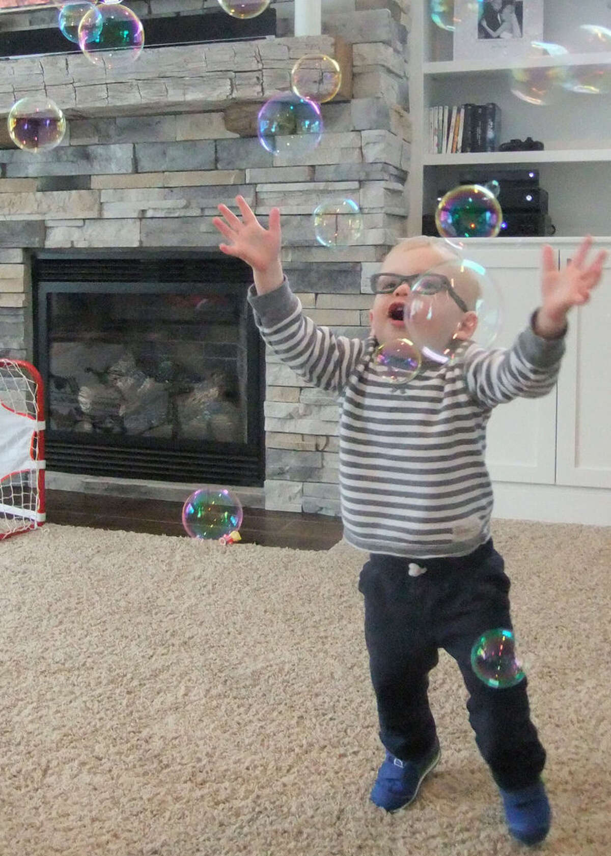 Mikey Wood, 19 months, was found to have an astigmatism after a Lions Club vision test.