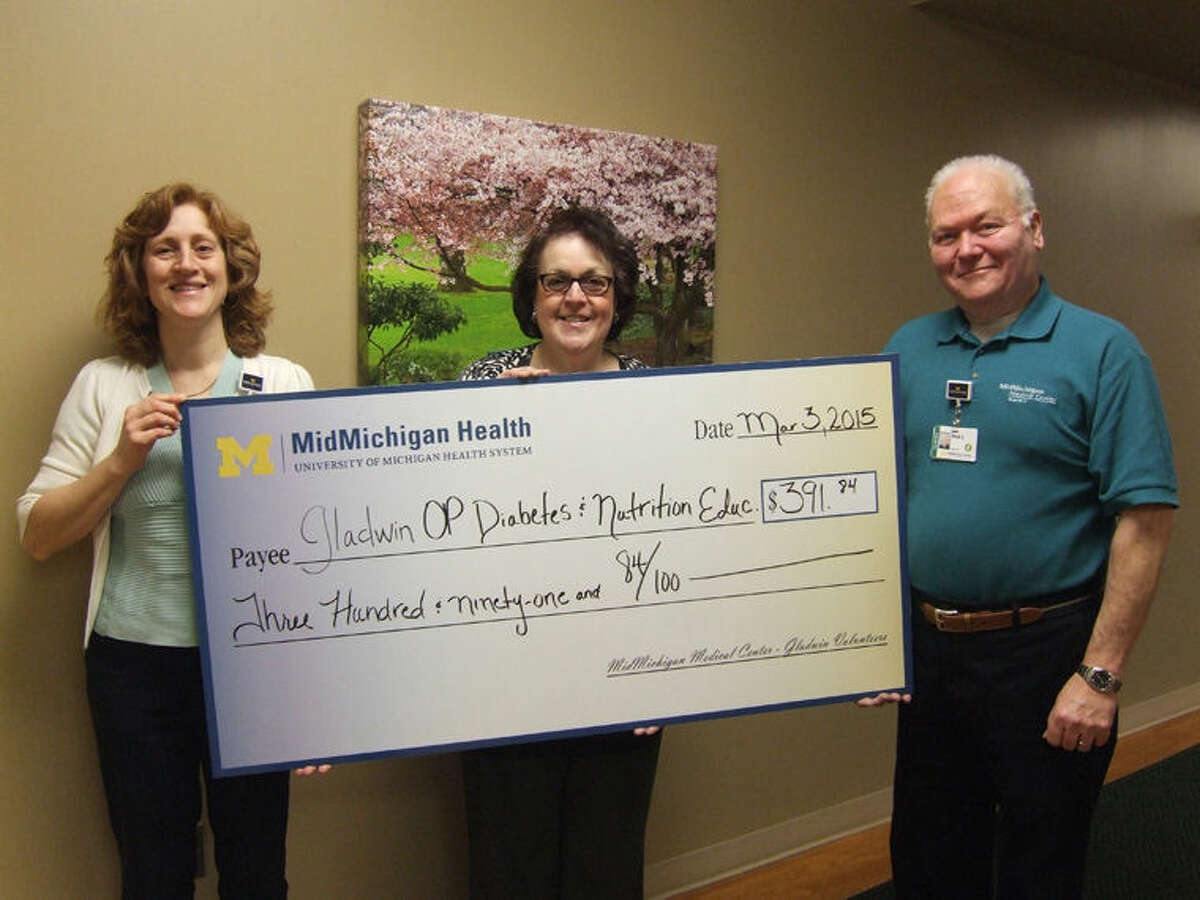 The volunteers of MidMichigan Medical Center-Gladwin recently presented a check in the amount of $391.84 for the Diabetic and Nutrition Education Scholarship Fund.