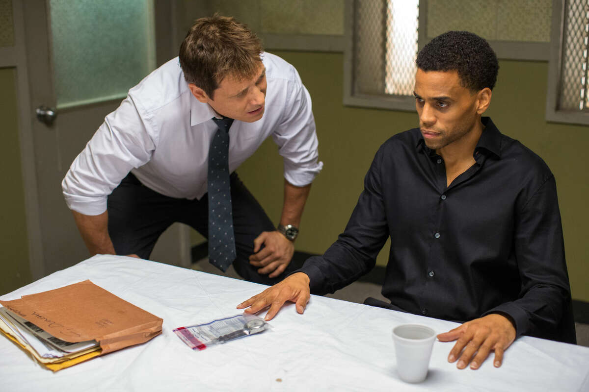 """In this photo provided by Sony/Screen Gems, Holt McCallany, left, as Detective Hansen, interogates Michael Ealy as Carter in Screen Gems' """"The Perfect Guy."""""""