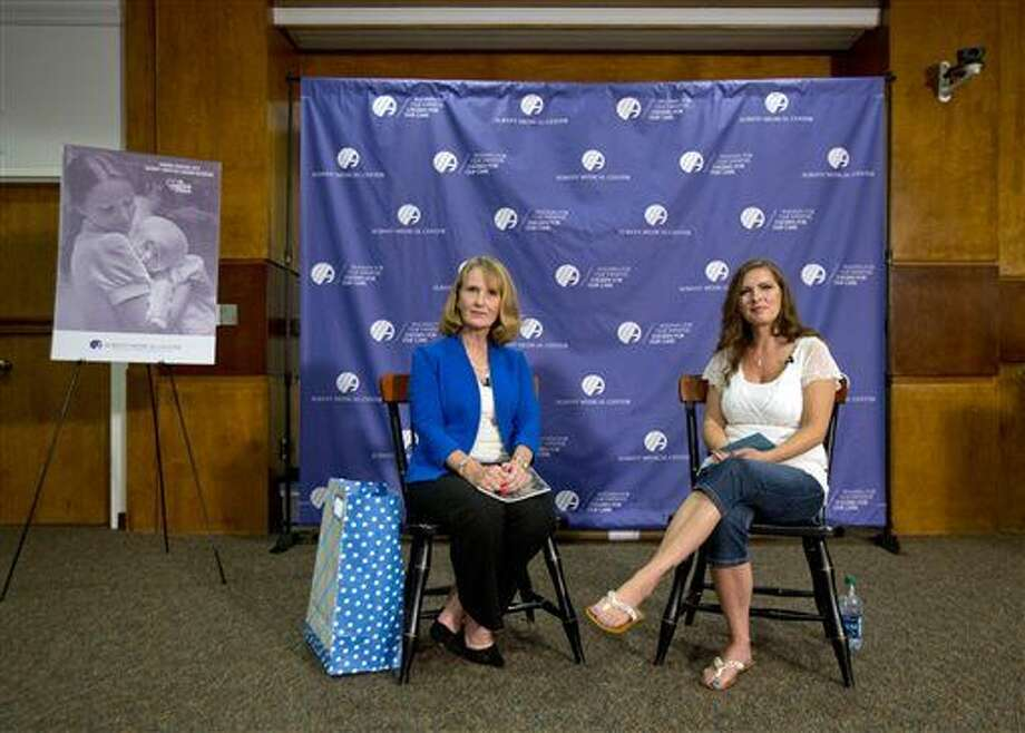 Nurse Susan Berger, left, and Amanda Scarpinati answer questions during a news conference at Albany Medical Center on Tuesday. Photo: Mike Groll | AP Photo