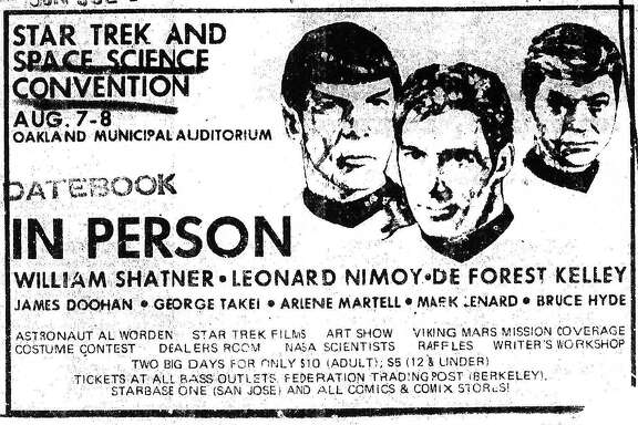 "A flier for the Aug. 7-8 1976 ""Star Trek"" convention at the Oakland Municipal Auditorium."