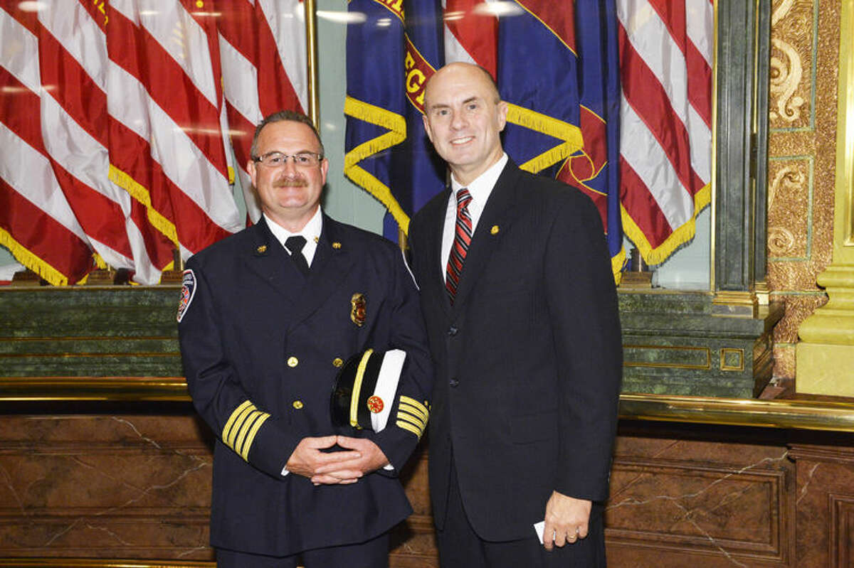 Greg Weisbarth, Midland Fire Department assistant chief, attended the annual Michigan House of Representatives 9/11 Memorial Service Thursday with state Rep. Gary Glenn.