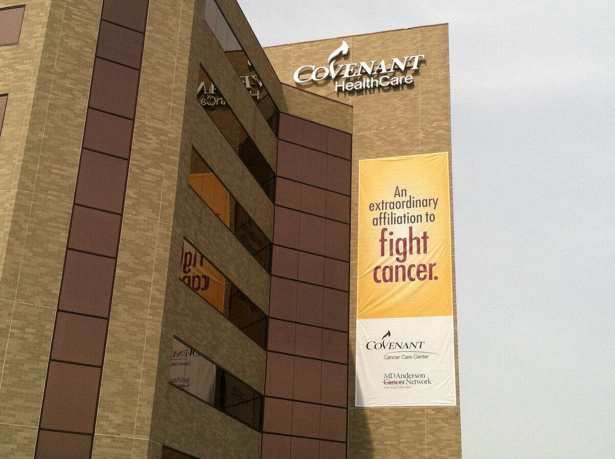 A new banner promoting the new affiliation between the Covenant HealthCare Cancer Care Center and MD Anderson Cancer Network was revealed today.