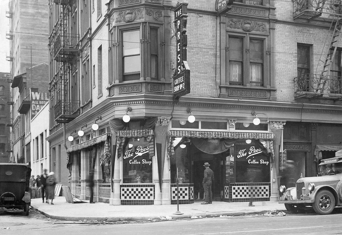 The Press Coffee Shop at Fifth and Jessie streets was a popular spot near the San Francisco Chronicle. This photo was likely taken in the 1930s.