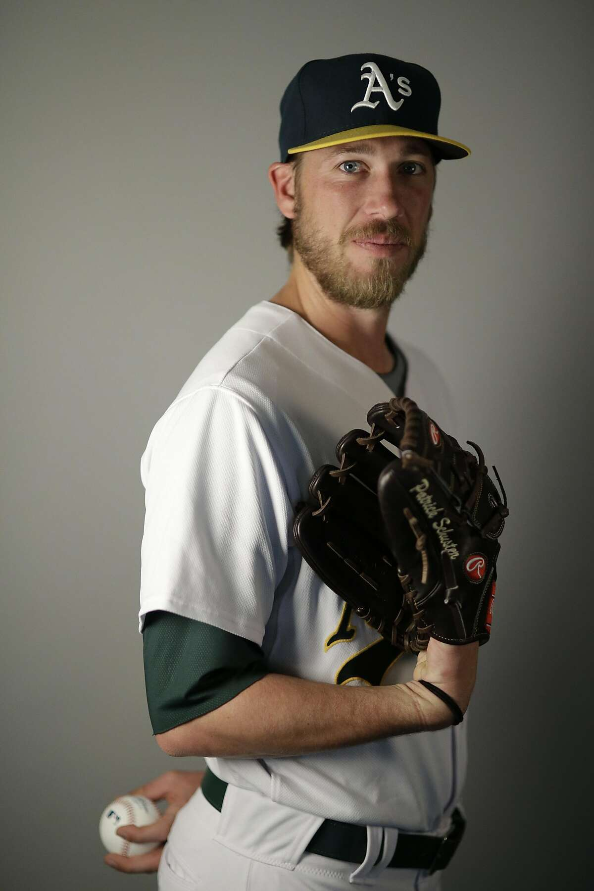 This is a 2016 photo of Patrick Schuster of the Oakland Athletics baseball team. This image reflects the Oakland Athletics active roster as of Monday, Feb. 29, 2016, when this image was taken. (AP Photo/Chris Carlson)