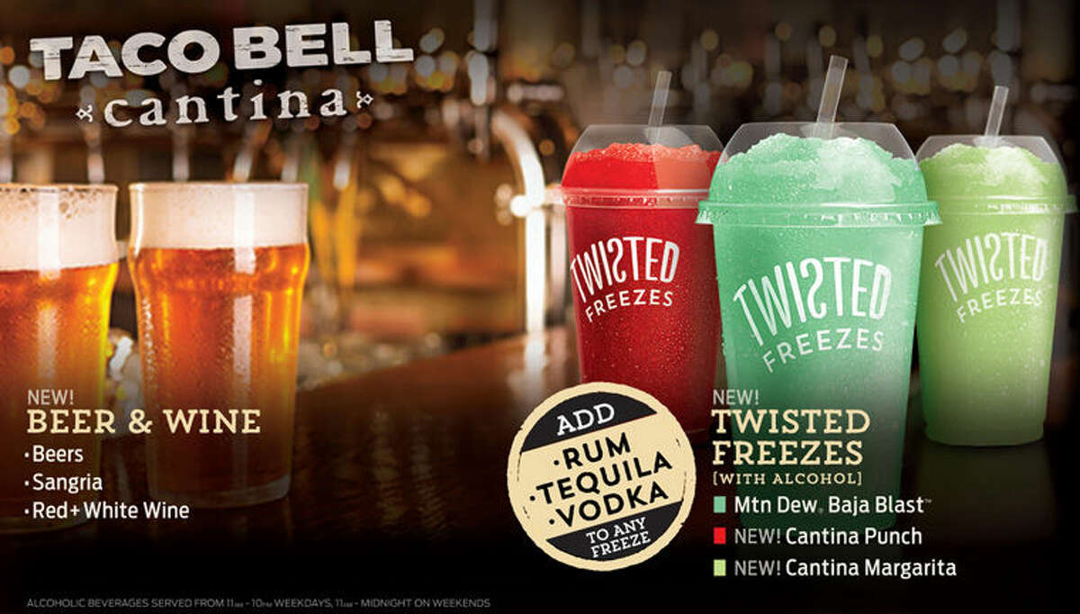 """This promotional image provided by Taco Bell shows some of the alcoholic beverages the fast food chain says it will soon be offering at a location in Chicago. Another location in San Francisco will have beer and wine, but no mixed drinks. The restaurant design is called """"Taco Bell Cantina"""" and features an open kitchen and a menu of """"tapas-style"""" appetizers in the evening."""