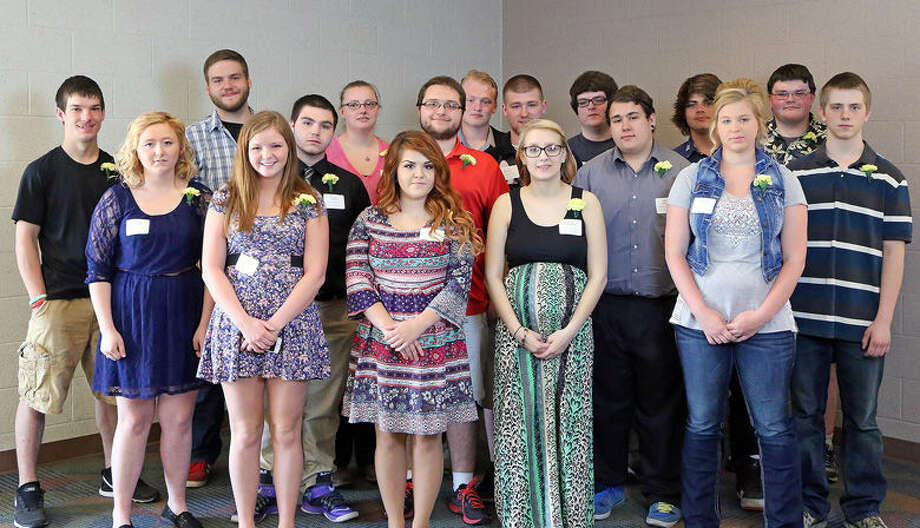 2015 Turn Around Achievement Award winners are, front row, from left, Marissa MacDonald, Kayla Callahan, Donna Canfield, Shyanne Loggie; middle row, Larissa Miller, Devin Wood, Travis Smith, Trae Duby, Joshua Veite; back row, Christopher Delong, Joe Elsie, Kailyn Brugger, Zachary Harris, Devon Barron, Weston Muma, Bradley Walsh and Christopher Hoefling. Photo: Photo Provided