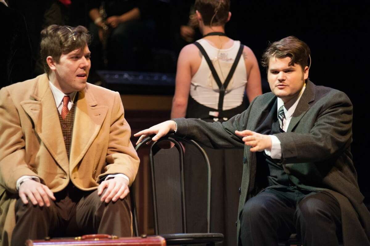 """STEVEN SIMPKINS   for the Daily News Richard Bronson as Clifford Bradshaw and Colin Russell as Ernst Ludwig in the Midland Center for the Arts Center Stage Theatre production of """"Cabaret."""""""