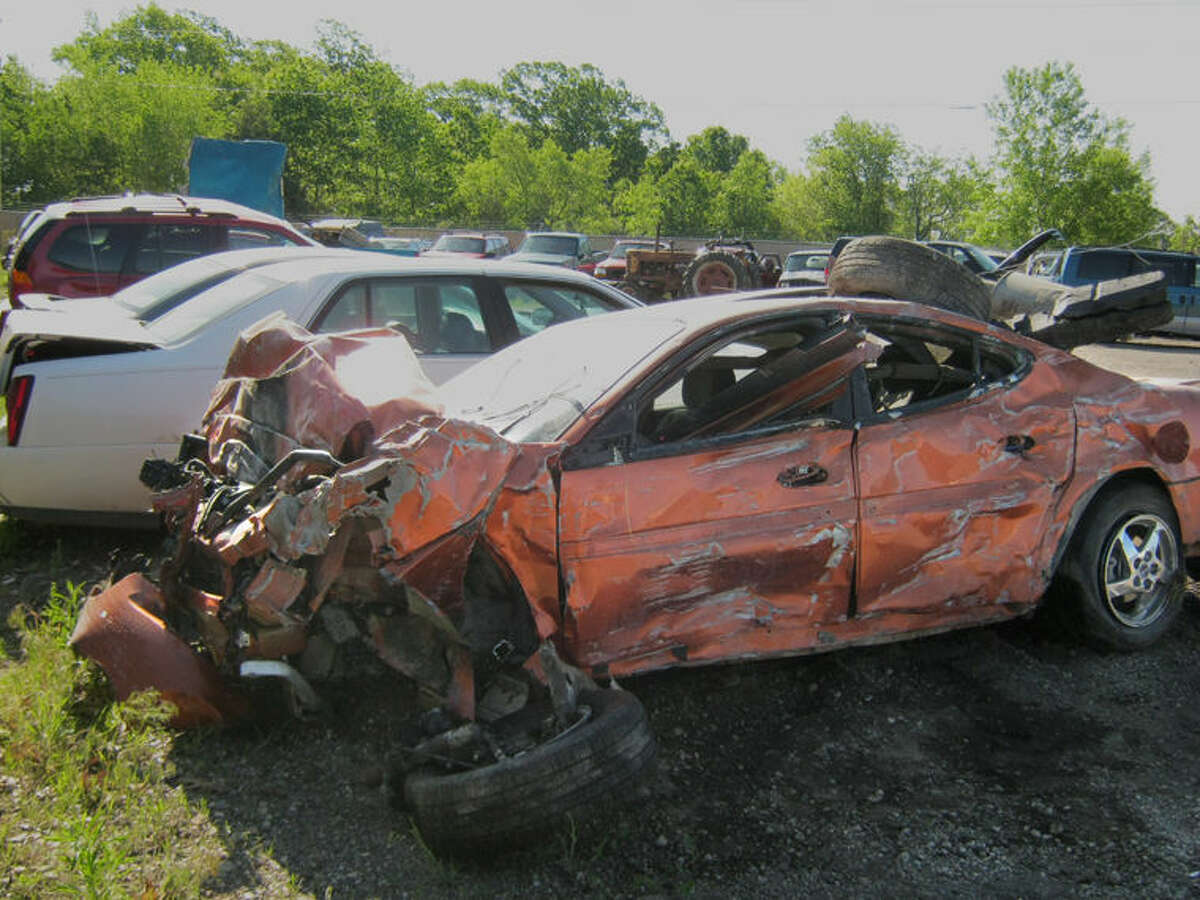 The suspect vehicle sustained extensive damage when it crashed.