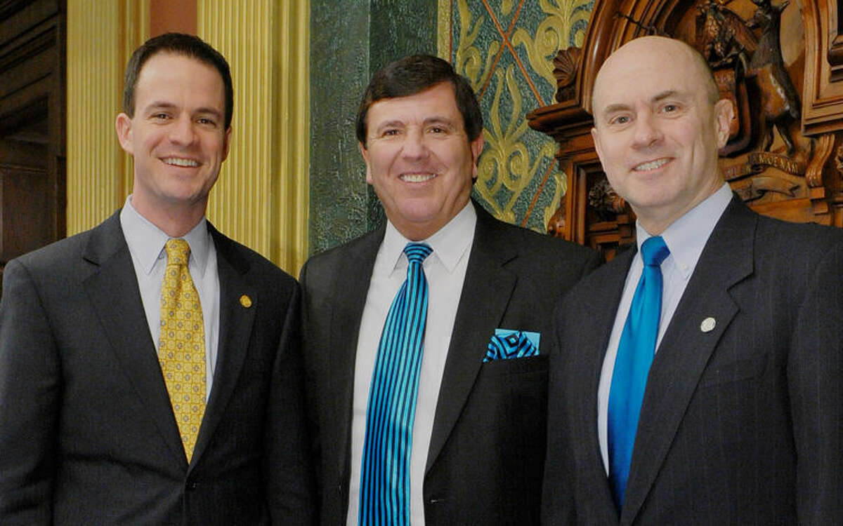 Pictured, from left, are Speaker of the House Kevin Cotter, R-Mount Pleasant, Pastor Jim Payne of Midland Baptist Church, and Rep. Gary Glenn, R-Midland, a member of Midland Baptist Church. Recently, Payne offered the opening prayer for the Michigan State House of Representatives.
