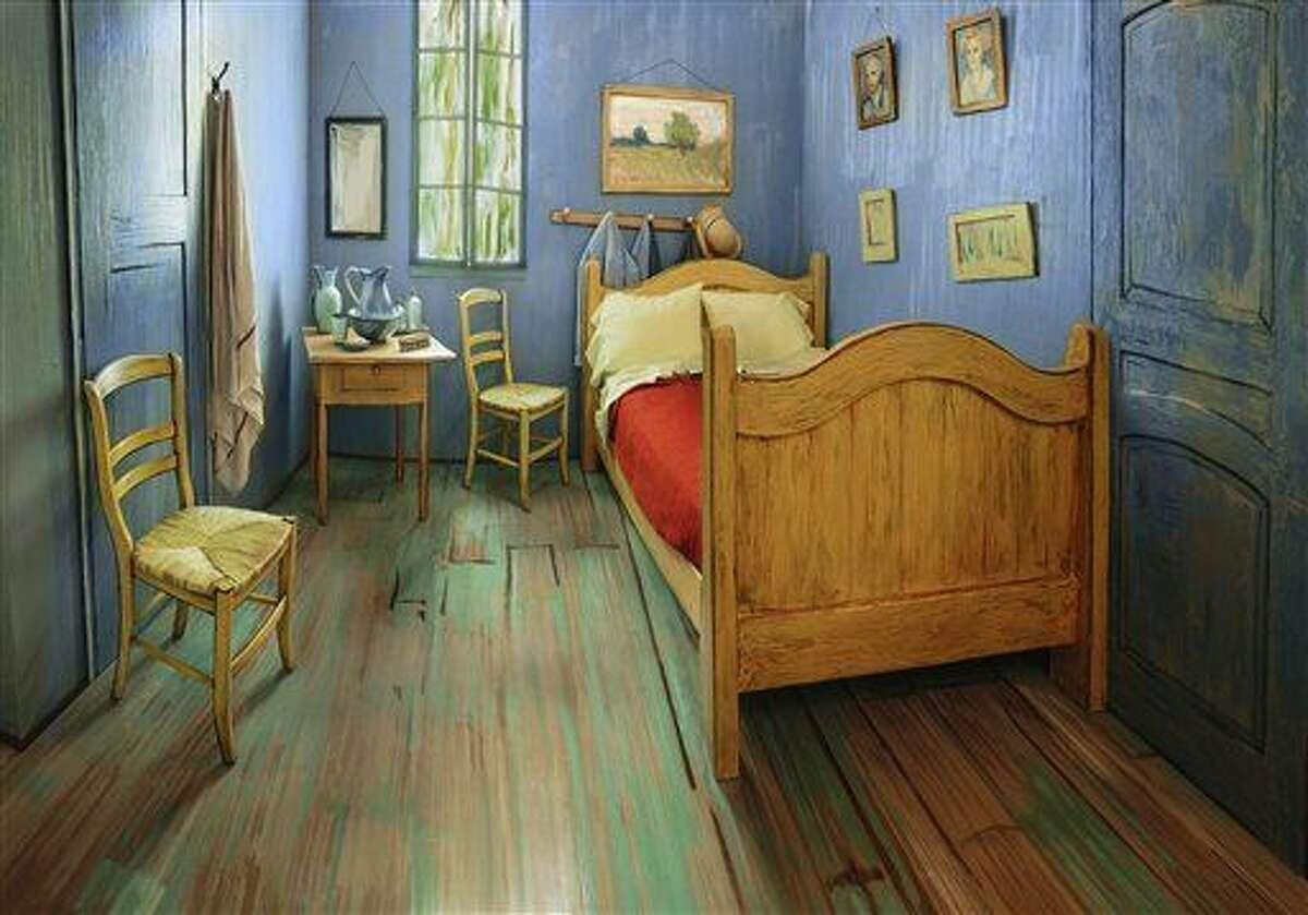 ARCHIVOA - En esta imagen de archivo del 8 de febrero de 2016 proporcionada por el Art Institute of Chicago, un apartamento de Chicago decorado para imitar al cuadro de Vincent van Gogh de su habitación en el sur de Francia. (Art Institute of Chicago via AP, Archivo)