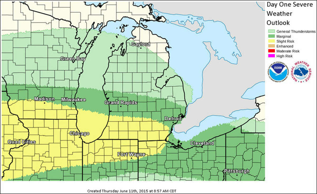 The National Weather Service issued this graphic for Severe Weather Risk for today and tonight.