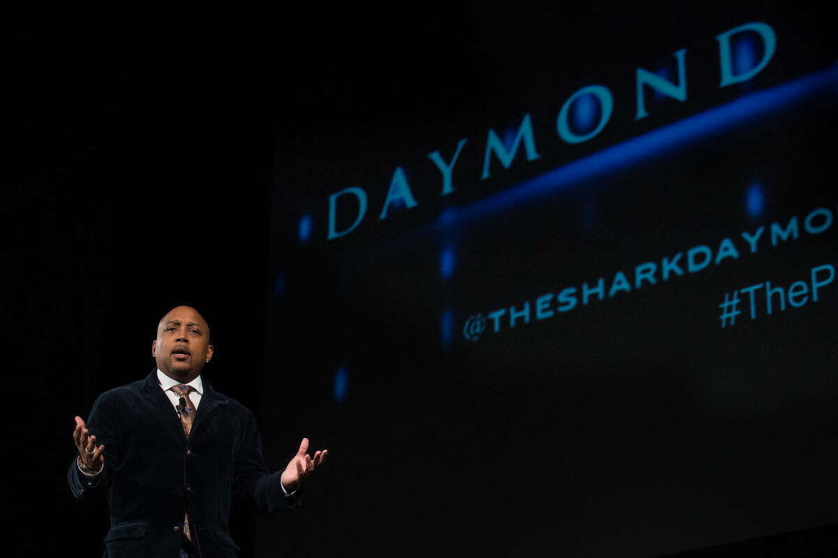 FUBU founder and Shark Tank investor Daymond John speaks about entrepreneurship Wednesday evening at Finch Fieldhouse at Central Michigan University. Daymond got his start while working at a Red Lobster in Queens, New York and selling hats on the side. His brand, FUBU, cornered the hip-hop market and launched his career.