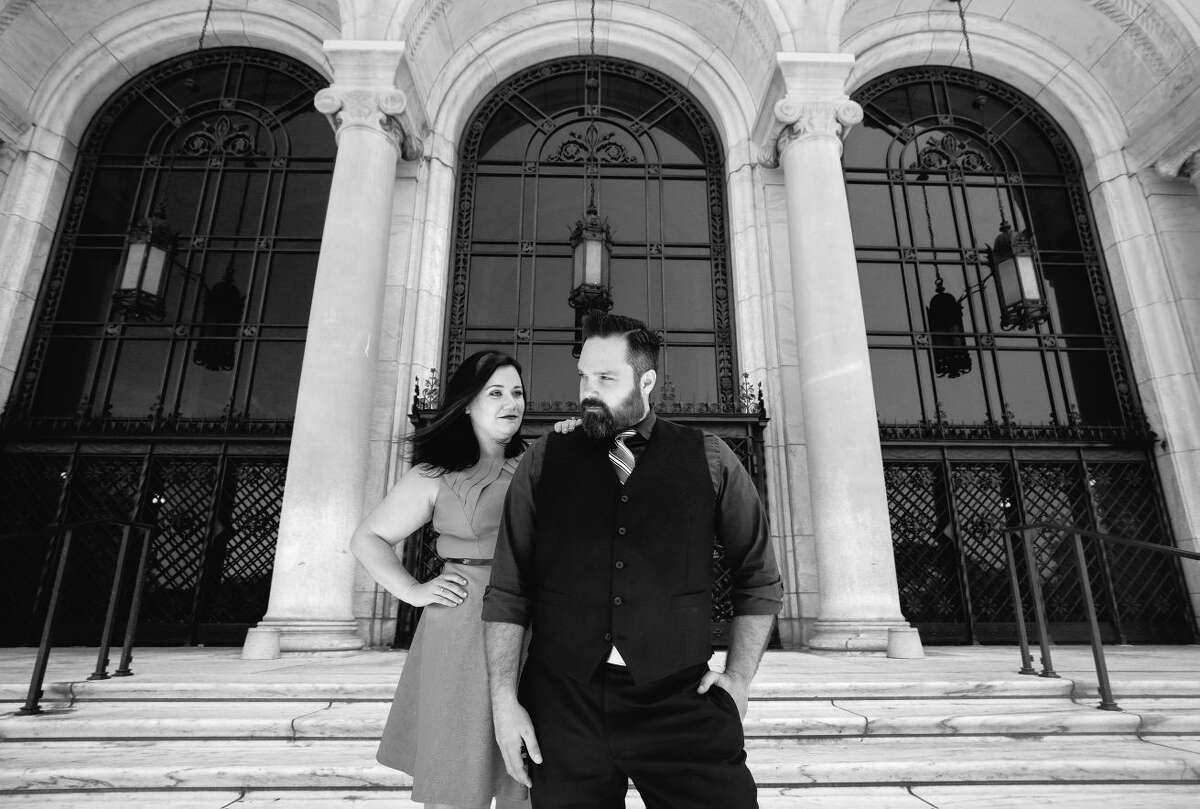 On the front steps at The Detroit Institute of Arts in Detroit, Michigan. Ryan Garza and Courtney Simpson / Pop Mod Photo