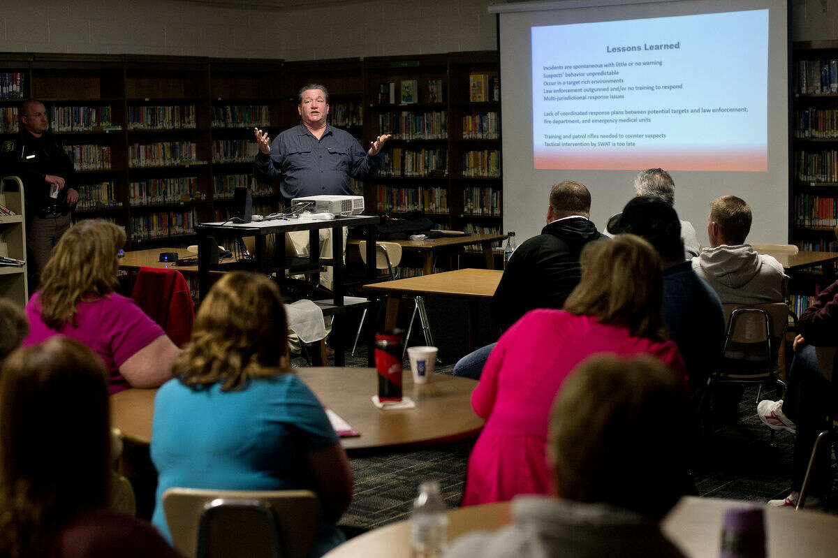 Security expert Thomas Royal speaks to Beaverton school employees during armed intruder training on recently at Beaverton Elementary.