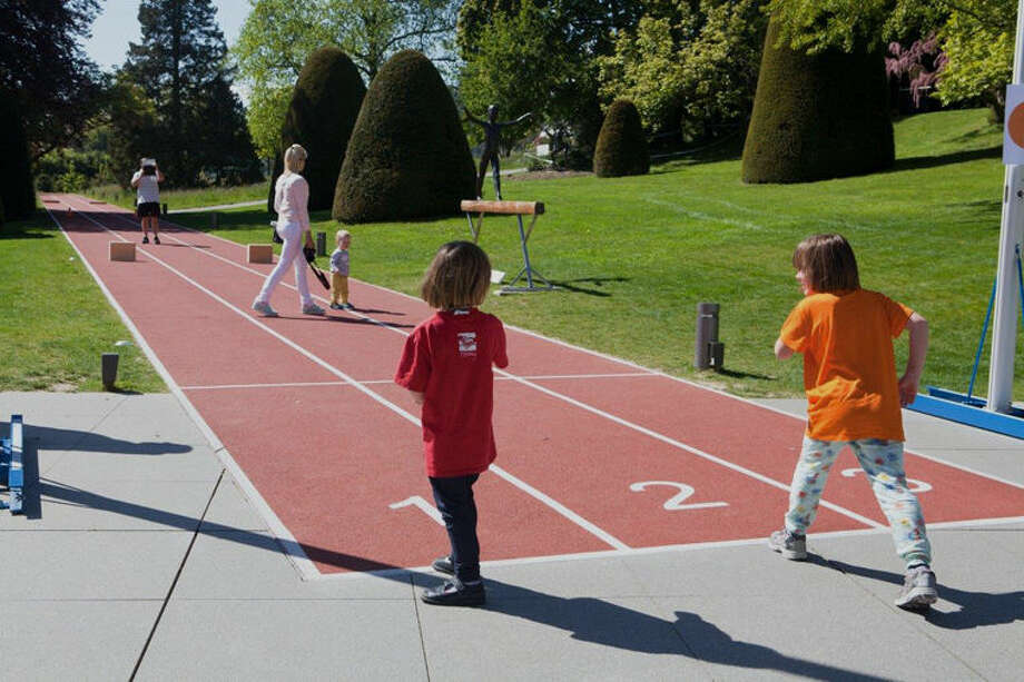The Dow Chemical Co. has helped to create the 100-meter running track installed in the grounds of The Olympic Museum in Lausanne, Switzerland. Photo: Photo Provided