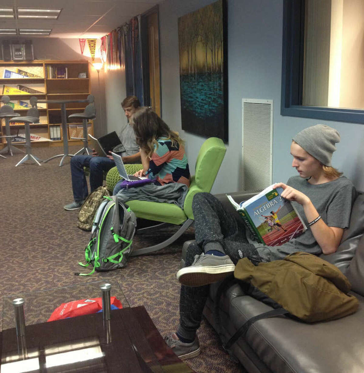 Students are shown in the new Lancer Lounge.