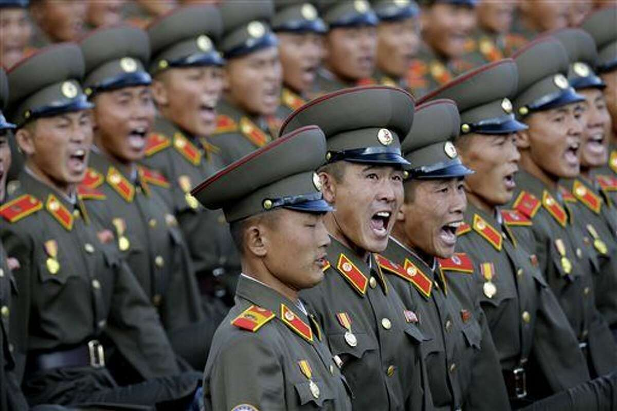 North Korean soldiers parade in Pyongyang, North Korea, Saturday. North Korea is holding one of its biggest celebrations for the 70th anniversary of its ruling party's creation.