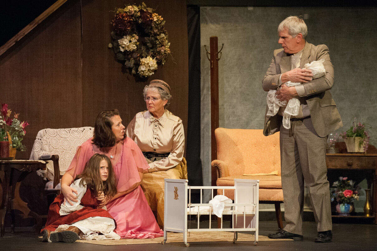 """Thea Doud is shown as Helen Keller, Christina Wiggins as Kate Keller, Janet Eurich as Aunt Ev and Randy Kreger as Captain Keller in the Bullock Creek Community Theatre production of """"The Miracle Worker."""" The play will be performed Thursday and Saturday at 7 p.m., Friday at 2 p.m. and Sunday at 3 p.m. at Bullock Creek Auditorium. Admission is $5 except for the Friday matinee, which is free."""