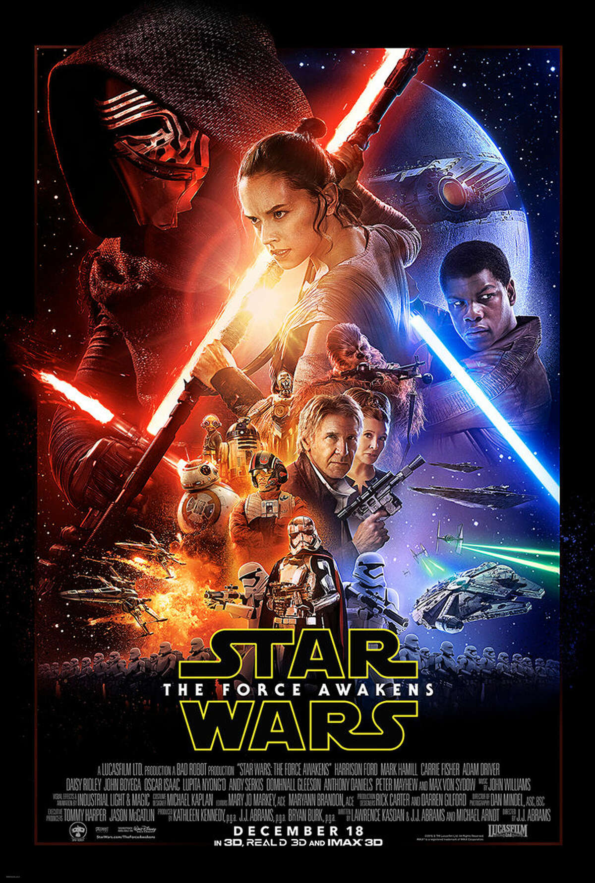 """This undated photo provided by Disney shows the poster for the new film, """"Star Wars: The Force Awakens."""" """"Star Wars"""" fans eagerly await the latest trailer for """"The Force Awakens,"""" airing during halftime of """"Monday Night Football,"""" on Oct. 19, 2015. The game starts at 5:15 p.m. PDT/8:15 p.m. EDT. (Disney via AP)"""