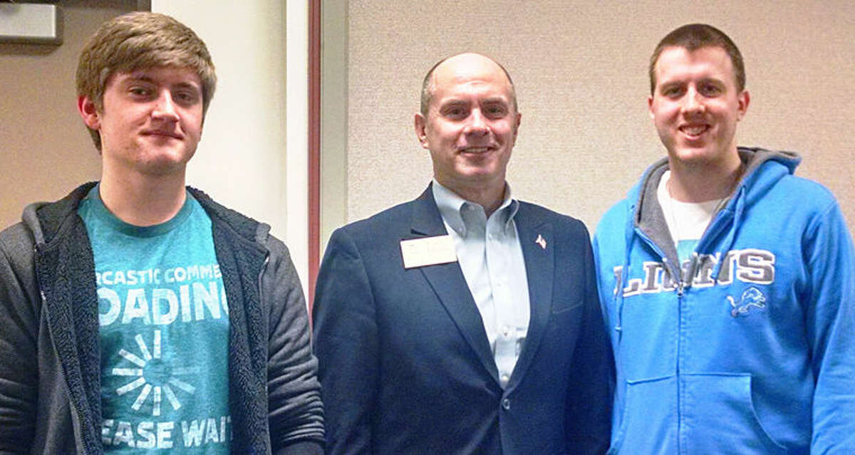 Pictured, from left, are William Carstens, Pinconning, pursuing an associate's degree at Delta in science, Rep. Gary Glenn, R-Midland, and Andrew Jansen, Midland, pursuing an associate's degree in art plus two communications certificates. Both students are residents of the 98th District which Glenn represents in Lansing.