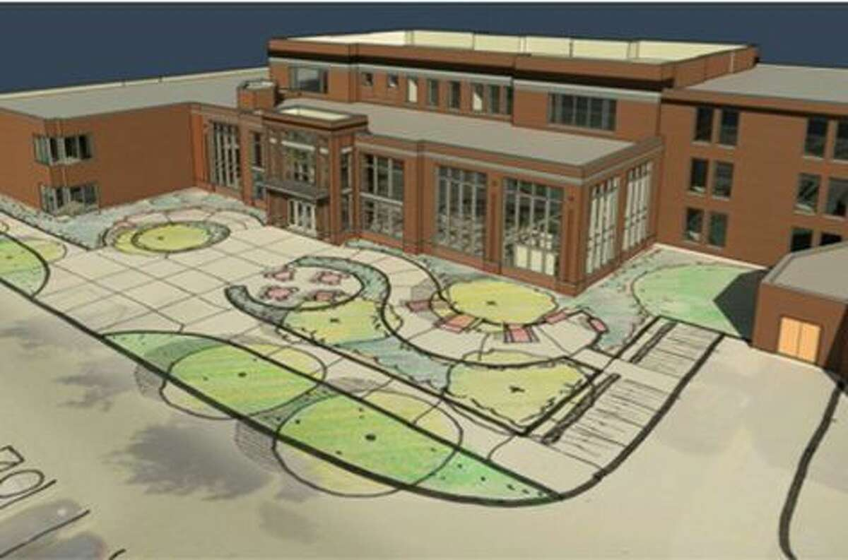 An artist's sketch of the work planned at Central Michigan University's Grawn Hall.