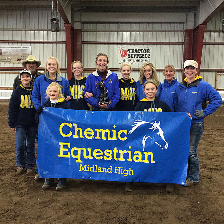 The Midland High Equestrian Club, headed to the state finals, includes (front row, from left) Hayden Purvis, McKenna Sanders; (second row, from left) coach Alex Garcia, Maureen Aloff, Serena Fleming-Dittenber, Marina Nadobny, Morgan Letzkus, Madison Pfahl, coach Boni Johnston, coach Lauren Johnston; (back row) coach Rick Young. Not pictured is Makela Rabideau. Photo: Photo Provided