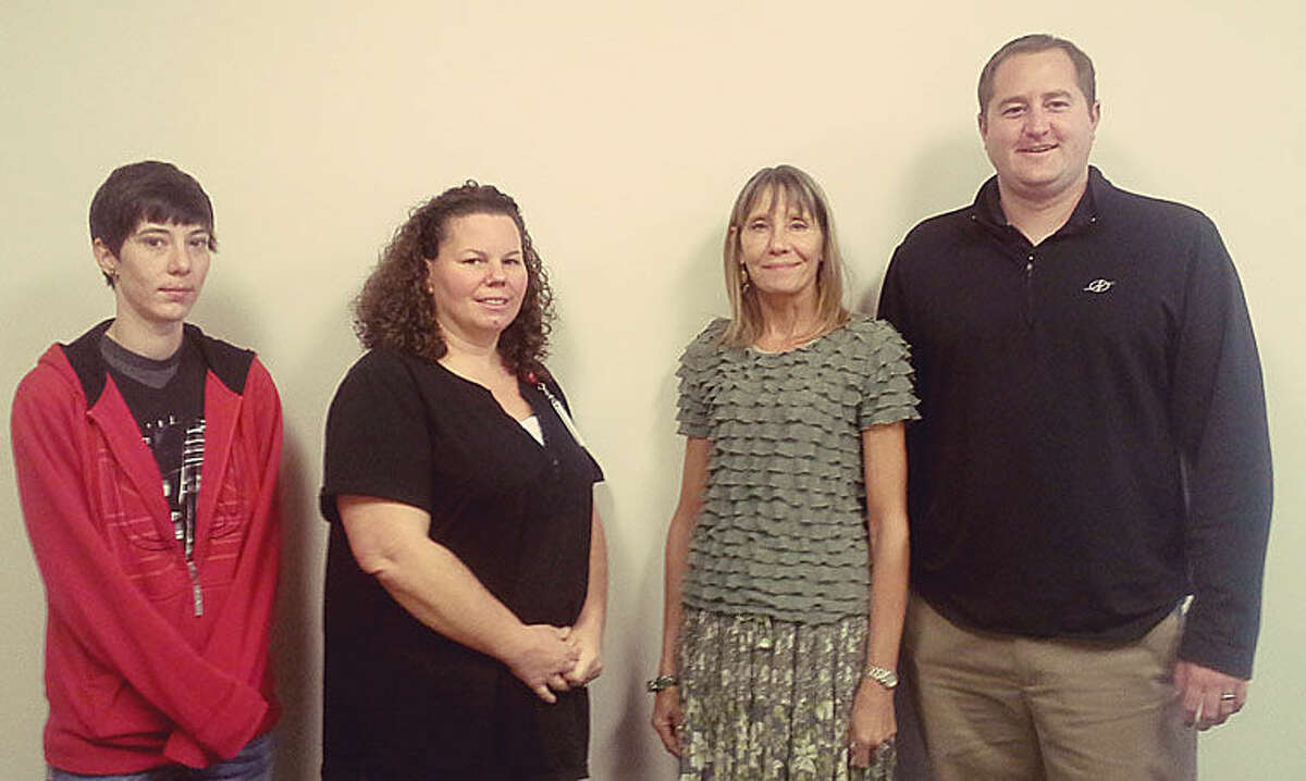 Pictured are MaKayla Grotkowski, Vicki Johnson, director of nursing, Ronda Cunningham and Administrator Joe Blewett.