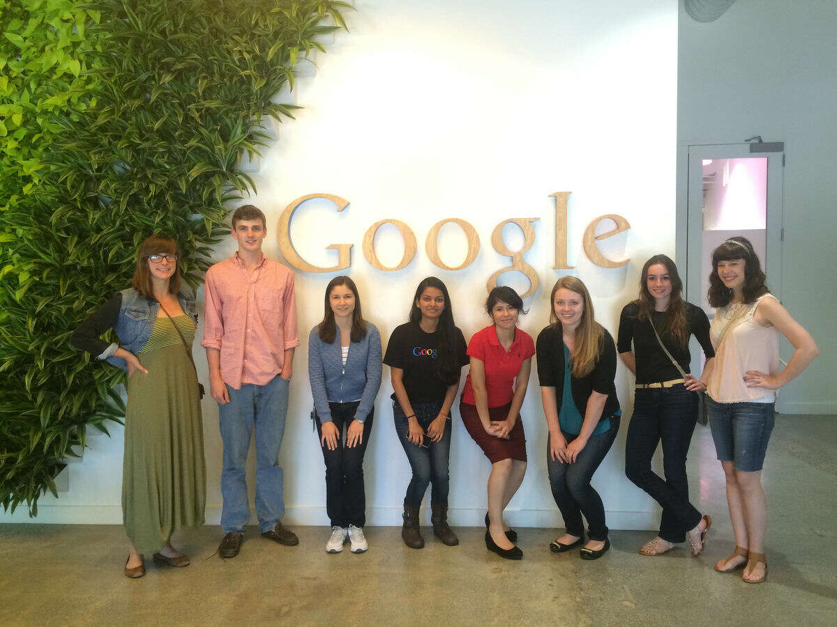 Midland native Rachael Acker, second from right, poses for a group photo on a mentor trip to Google headquarters in California. Acker isstudying mechanical engineering at Michigan State University and is working to encourage young girls to pursue careers in the STEM fields of science, technology, engineering and mathematics.