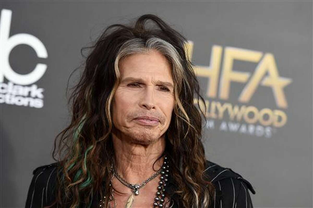 """Steven Tyler, shown arriving at the Hollywood Film Awards at the Palladium in Los Angeles, is asking Republican presidential candidate Donald Trump to stop using the power ballad """"Dream On"""" at campaign events."""